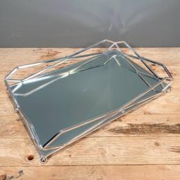 Δίσκος Γάμου Καθρέφτη Ασημένιος Μεταλλικός 37*32εκ