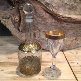 Γυάλινη Καράφα & Κρυστάλλινο Ποτήρι Χρυσές Λεπτομέρειες