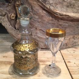 Σετ Γάμου Γυάλινη Καράφα & Κρυστάλλινο Ποτήρι Χρυσές Λεπτομέρειες