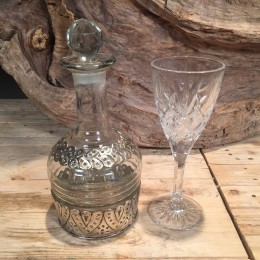 Σετ Γάμου Γυάλινη Καράφα Ασημί Λεπτομέρειες & Κρυστάλλινο Ποτήρι