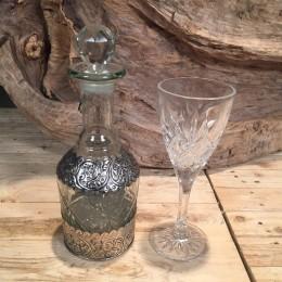 Γυάλινη Καράφα Ασημί Λεπτομέρειες & Κρυστάλλινο Ποτήρι