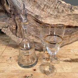 Σετ Γάμου Καράφα Ποτήρια Κρασιού & Σαμπάνιας Κρυστάλλινα Χρυσες Γραμμές Λουλουδάκια