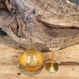 Σετ Γάμου Καράφα & Ποτήρι Γυάλινα Χρυσή Διακόσμηση 14*35εκ