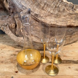 Σετ Γάμου Καράφα & Ποτήρι Κρασιού Σαμπάνιας Γυάλινα Χρυσή Διακόσμηση 14*35εκ