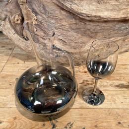 Σετ Γάμου Καράφα & Ποτήρι Γυάλινα Επιμεταλλωμένα Διακόσμηση 24*27εκ