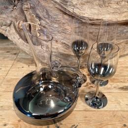 Σετ Γάμου Καράφα Ποτήρι Κρασιού & Σαμπάνιας Γυάλινα Επιμεταλλωμένα Διακόσμηση 24*27εκ