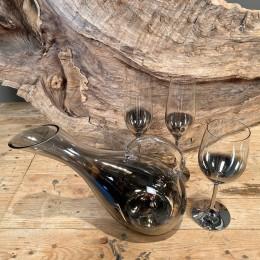 Σετ Γάμου Καράφα Ποτήρι Κρασιού & Σαμπάνιας Γυάλινα Επιμεταλλωμένα Διακόσμηση 31*21εκ