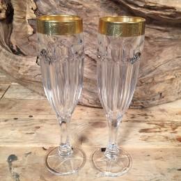 Ποτήρια Γάμου Σαμπάνιας Χρυσή Λεπτομέρεια Ανάγλυφη
