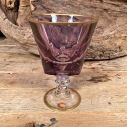 Ποτήρι Γάμου Χειροποίητο Κρασιού Γυάλινο Λιλά Λεπτομέρεια Χρυσό