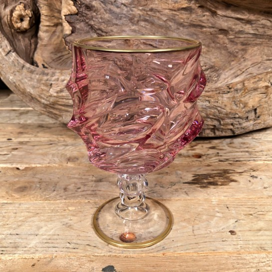 Ποτήρι Γάμου Χειροποίητο Κρασιού Γυάλινο Ροζ Λεπτομέρεια Χρυσό