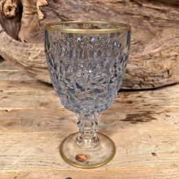 Ποτήρι Γάμου Χειροποίητο Κρασιού Γυάλινο Γαλάζιο Λεπτομέρεια Χρυσό