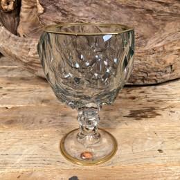 Ποτήρι Γάμου Χειροποίητο Κρασιού Γυάλινο Πράσινο Λεπτομέρεια Χρυσό
