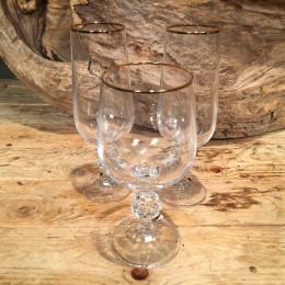 Σετ Ποτήρια Γάμου Κρασιού & Σαμπάνιας Κρυστάλλινο Χρυσή Ρίγα 16εκ & 17εκ