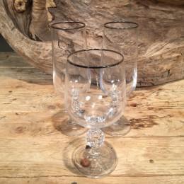 Σετ Ποτήρια Γάμου Κρασιού & Σαμπάνιας Κρυστάλλινα Ασημί Ρίγα 16εκ & 17εκ