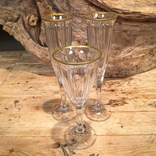 Σετ Ποτήρια Γάμου Κρασιού & Σαμπάνιας Κρυστάλλινο Χρυσή Ρίγα 19εκ & 24εκ