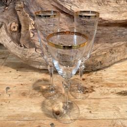 Σετ Γάμου Ποτήρια Κρασιού & Σαμπάνιας Κρυστάλλινα Χρυσες Γραμμές Λουλουδάκια