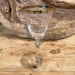 Ποτήρι Γάμου Κρυστάλλινο Κρασιού Χρυσές Γραμμές Σχέδιο Λουλουδάκια 22εκ