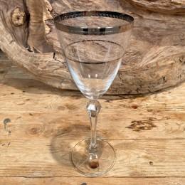 Ποτήρι Γάμου Κρυστάλλινο Κρασιού Ασημί Γραμμές Σχέδιο Λουλουδάκια 22εκ