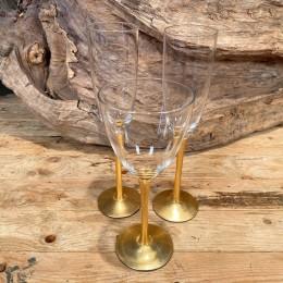 Σετ Ποτήρια Γάμου Κρασιού & Σαμπάνιας Γυάλινα Χρυσή Διακόσμηση