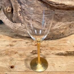 Ποτήρι Γάμου Γυάλινο Χρυσή Διακόσμηση 10*22εκ