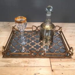 Σετ Γάμου Ορθογώνιος Μεταλλικός Δίσκος Καθρέφτη Καράφα & Ποτήρι Χρυσές Λεπτομέρειες