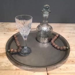 Σετ Γάμου Μεταλλικός Στρογγυλός Δίσκος Γυάλινη Καράφα & Κρυστάλλινο Ποτήρι