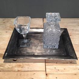 Σετ Κουμπάρου Ορθογώνιος Δίσκος Κρυστάλλινη Καράφα & Ποτήρι