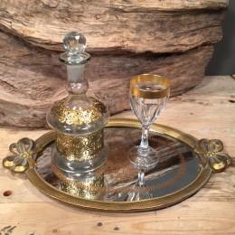 Σετ Γάμου Χρυσός Δίσκος Καθρέφτη Ποτήρι Κρυστάλλινο Καράφα Χρυσές Λεπτομέρειες