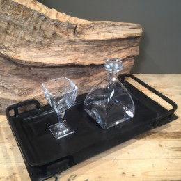 Σετ Κουμπάρου Δίσκος Μαύρος Μεταλλικός Κρυστάλλινο Ποτήρι Γυάλινη Καράφα