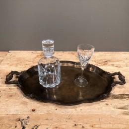 Σετ Γάμου Δίσκος Μεταλλικός Κρυστάλλινη Καράφα & Ποτήρι Κρασιού