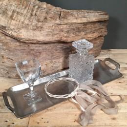 Σετ Κουμπάρου Δίσκος Ορθογώνιος Αλουμινίου Κρυστάλλινη Καράφα & Ποτήρι Στέφανα Γάμου Δαντέλα