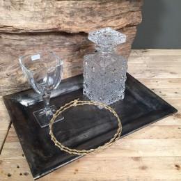 Σετ Κουμπάρου Ορθογώνιος Δίσκος Κρυστάλλινη Καράφα & Ποτήρι Επίχρυσα Στέφανα Γάμου
