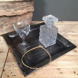 Σετ Κουμπάρου Τετράγωνος Δίσκος Κρυστάλλινη Καράφα & Ποτήρι Επίχρυσα Στέφανα Γάμου