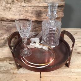 Σετ Κουμπάρου Στρογγυλός Δίσκος Κρυστάλλινη Καράφα & Ποτήρι Στέφανα Γάμου Ασημένια Δίχρωμα