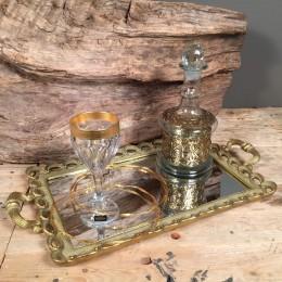 Σετ Γάμου Χρυσό Δίσκος Καθρέφτη Ποτήρι Καράφα Ασημένια Στέφανα Γάμου