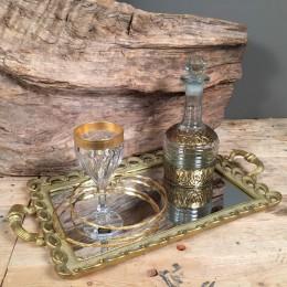 Σετ Γάμου Κουμπάρου Χρυσό Δίσκος Καθρέφτη Ποτήρι Καράφα Ασημένια Στέφανα Στριφτά