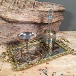 Σετ Γάμου Χρυσό Δίσκος Καθρέφτη Ποτήρι Καράφα Ξύλινα Ασημένια Στέφανα