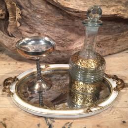 Σετ Γάμου Vintage Δίσκος Καθρέφτη Μεταλλικό Ποτήρι Καράφα Χρυσές Λεπτομέρειες