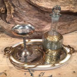 Σετ Γάμου Vintage Δίσκος Καθρέφτη Μεταλλικό Ποτήρι Καράφα Ασημένια Στέφανα