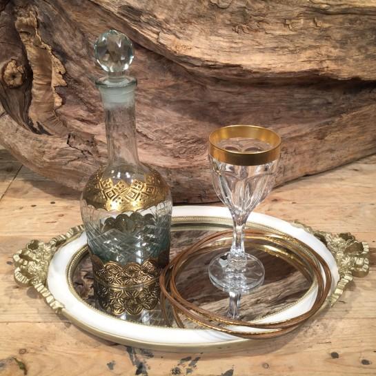 Σετ Γάμου Vintage Δίσκος Καθρέφτη Ποτήρι Κρυστάλλινο Καράφα Ασημένια Στέφανα Γάμου