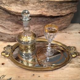 Σετ Γάμου Χρυσός Δίσκος Ποτήρι Καράφα Στέφανα Γάμου Ασημένια Επιχρυσωμένα