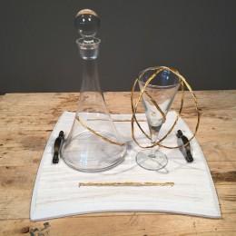 Σετ Γάμου Ξύλινος Δίσκος Ποτήρι Καράφα Στέφανα Ασημένια Επιχρυσωμένα Σχέδιο Λουλουδάκια