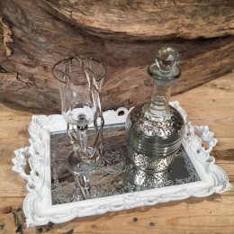Σετ Γάμου Δίσκος Λευκός Καθρέφτη Ποτήρι Καράφα Ασημί Ξύλινα Ασημένια Στέφανα Γάμου
