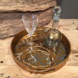 Σετ Γάμου Κουμπάρου Στρογγυλόσ Χρυσός Δίσκος Καράφα & Ποτήρι Στέφανα Γάμου