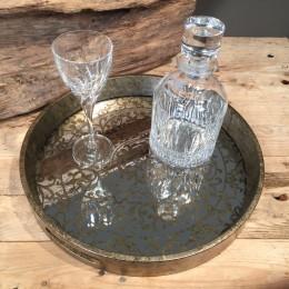 Σετ Γάμου Κουμπάρου Στρογγυλός Δίσκος Καθρέφτη Κρυστάλλινη Καράφα & Ποτήρι