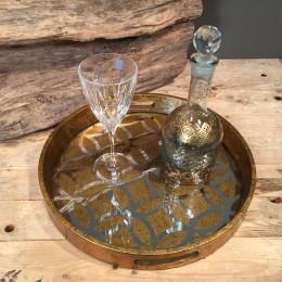 Σετ Γάμου Κουμπάρου Στρογγυλός Χρυσός Δίσκος Καθρέφτη Καράφα & Ποτήρι