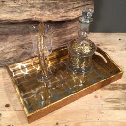 Σετ Γάμου Κουμπάρου Χρυσός Δίσκος Ποτήρι Καράφα Χρυσές Λεπτομέρειες Στέφανα Ξύλο Επιχρυσωμένο Ασήμι