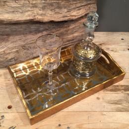 Σετ Γάμου Κουμπάρου Χρυσός Δίσκος Κρυστάλλινο Ποτήρι Γυάλινη Καράφα Χρυσές Λεπτομέρειες
