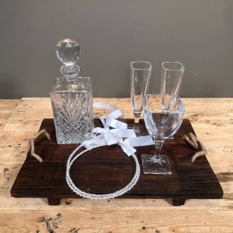 Σετ Γάμου Δίσκος Ξύλινος 45*30εκ Κρυστάλλινη Καράφα Ποτήρια Κρασιού Σαμπάνιας Στέφανα