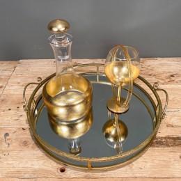 Σετ Γάμου Δίσκος Καθρέφτη 42*10εκ Καράφα Ποτήρι Χρυσή Διακόσμηση Στέφανα Γάμου